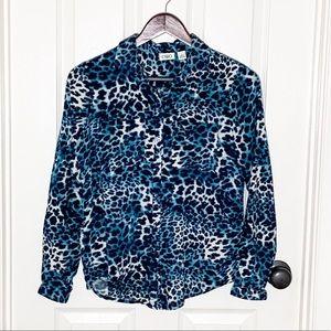 Blue Tie Dye Leopard Print Button Up Top Sz S
